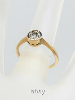 Antique 1920.65ct Old Euro VS2 I Diamond 14k Yellow Gold BEZEL SET Wedding Ring