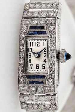 Antique 1920s $12,000 4ct Old Cut VS Diamond Blue Sapphire Platinum Ladies Watch