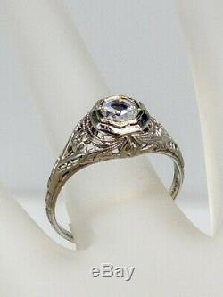 Antique 1920s $3000 VS F Old Cut Diamond 18k White Gold Filigree Ring RARE