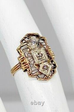 Antique 1920s. 33ct Old Mine Cut Diamond 14k Yellow Gold Filigree Ring