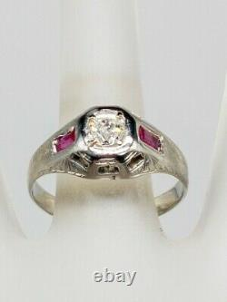 Antique 1920s $4000 1ct Old Euro Diamond Ruby 18k White Gold Mens Band Ring