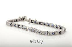 Antique 1920s 5ct Old Euro VS G Diamond Trillion Blue Sapphire Platinum Bracelet