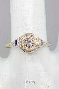 Antique 1920s. 65ct Old Euro Diamond Blue Sapphire 18k White Gold Filigree Ring