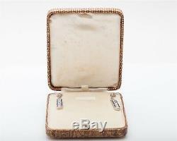 Antique 1920s $7000 8ct Old Mine Cut Diamond Blue Sapphire Platinum Earrings