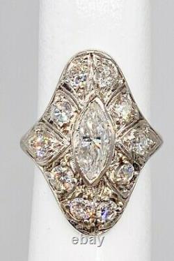 Antique 1920s $8000 2.25ct Marquis Old Euro Diamond Platinum Ring FREE SIZE