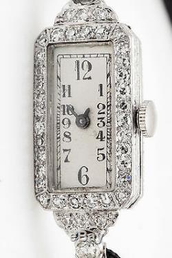 Antique 1920s Engraved Platinum 1ct VS G Old Cut Diamond Ladies Watch WARRANTY