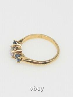 Antique 1940s 1.65ct Old Mine Cut Diamond Blue Sapphire 14k Yellow Gold Ring