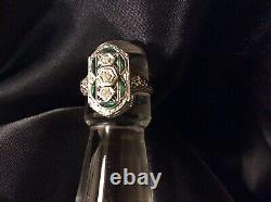 Antique 1ct Old Euro Diamond Emerald 18k White Gold Filigree Ring Size 8