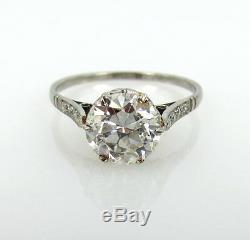 Antique 2.0ct Old European Cut Diamond & Platinum Engagement Ring Size 7.75