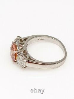 Antique $25,000 3.77ct Old Euro VVS Genuine PINK Diamond Platinum Wedding Ring