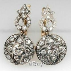 Antique 2Ct Old Cut Diamond Vintage Art Deco Dangle Earrings 14k White Gold Over