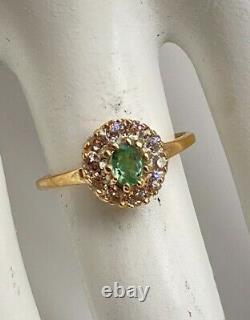 Antique $5000 1.50ct Natural Alexandrite Old Euro Diamond 14k Yellow Gold Ring