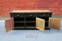 Antique 5ft Country Store Counter Table Green Workbench Vintage Old Paint Desk