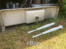 Antique 75 Cast Iron White Porcelain Kitchen Farm Sink with Legs Old Vtg 78-19E