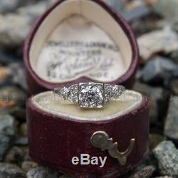 Antique Art Deco 0.53 CT Round Diamond Vintage Old 14K Gold Over Engagement Ring