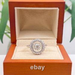Antique Art Deco Old European 0.70 tcw Diamond Halo Ring 18K White Gold