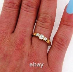 Antique Art Nouveau 3 Old Mine Cushion Cut Diamonds Floral 18K Yellow Gold Ring