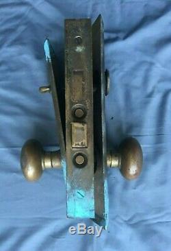 Antique Brass Entry Door Knob Set Back Plates Mortise Lock Vtg Yale Old 460-19J