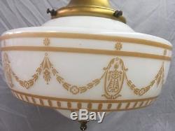 Antique Brass Victorian Pendant Light Old Gold Guild Stenciled Globe Vtg 34-18E