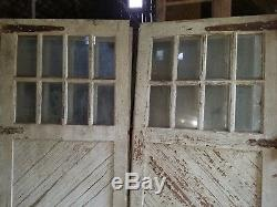 Antique Carriage Door set measure 96 x 96 overall vtg. Barn, garage old paint