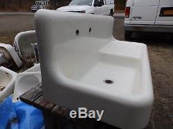 Antique Cast Iron Porcelain 52 Kitchen Farm Sink Drainboard Old Vtg 5343-15