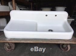 Antique Cast Iron White Porcelain 52 Kitchen Farm Sink Old Vtg Kohler 248-17E