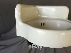 Antique Cast Iron White Porcelain Corner Bath SInk Old Standard Vtg 217-19E