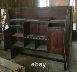 Antique Cherry Built in Cabinet Cupboard Mirror Pantry Old Lodge Vtg 44-20E