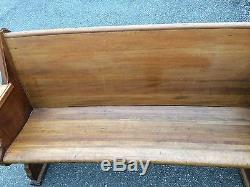 Antique Church Pew Pennsylvania Vintage Carved Ornate Wood Old Curved Bench Seat