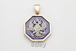 Antique DOUBLE EAGLE Blue Enamel Russia 2ct Old Diamond 18k 14k Gold Pendant 48g