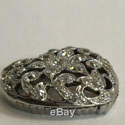 Antique Diamond Heart Pendant with Old European Cut Diamonds Platinum & Gold