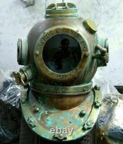 Antique Diving Helmet Vintage Anchor Marine Rare Antique Old Divers Helmet