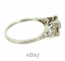 Antique Edwardian 1.21ct Old Mine Cut Diamond & Platinum Engagement Ring Size 6