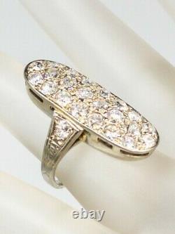 Antique Edwardian 1900s $7000 3ct Old Euro VS H Diamond Platinum Cluster Ring