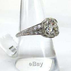 Antique Edwardian 3.49ct Old Mine Cut Diamond Platinum Decorated Ring 7.75