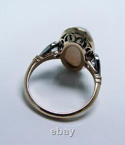 Antique Edwardian Opal Old European cut Diamond Ring 14K Gold Platinum Estate