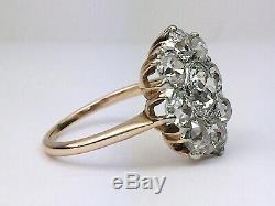 Antique Estate Platinum 14K Rose Gold Old Mine Cut Diamond Flower Ring