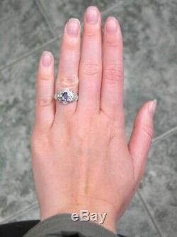 Antique Estate Solid 14kt Wg Genuine Sapphire Old Cut Diamond Deco Filigree Ring