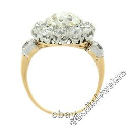 Antique French 18k Gold Platinum 4.58ct Old Mine Cut Diamond Flower Cluster Ring