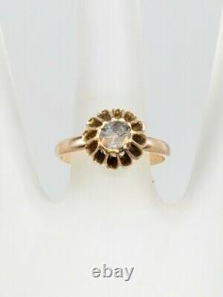 Antique Georgian 1830s. 75ct Old Mine Rose Cut Diamond 14k Yellow Gold Ring