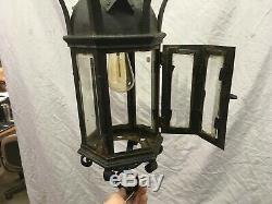 Antique Gothic Ceiling Pendant Porch Light FIxture Old Vtg Beveled Glass 395-19E