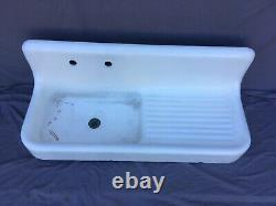 Antique High Back Farm House Cast Iron Porcelain Sink 52 Old Standard 583-20E