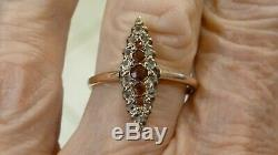 Antique Ladies 10k Pink Gold 33 Points Old Mine Cut Diamond / Ruby Ring Size 8