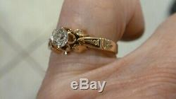 Antique Ladies 14k Rose Gold 45 Pt Old Mine Cut Diamond Engagement Ring Sz 6 1/4
