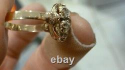 Antique Ladies 14k Yellow Gold 1.25 Carat Old Mine Cut 13-diamond Cluster Ring