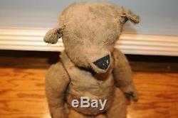Antique Likely Steiff Jointed Early 1900's Teddy Bear Straw Filled 20 Inch Old