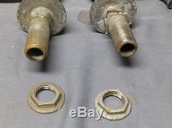 Antique Nickel Brass Separate Hot Cold Deck Mount Sink faucets Old Vtg 102-17E