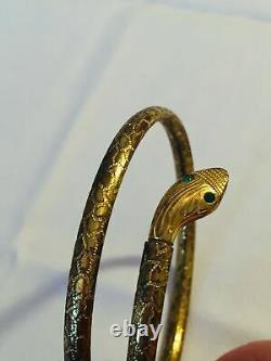 Antique Old Art Deco Egyptian Revival Bangle Snake Emerald Green Glass Whimsical
