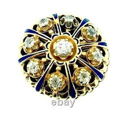 Antique Old Cut Diamond and Enamel Ring in 14k Yellow Gold- HM969I