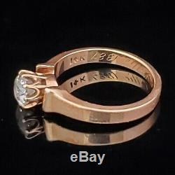 Antique Old European Cut Diamond 14k Yellow Gold Engagement Ring Engraved 1887